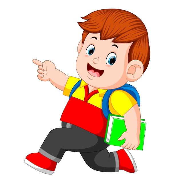 バックパックと本が散歩している少年 Premiumベクター
