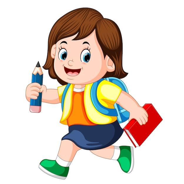 バックパックと本がいっぱいの鉛筆を持っている女の子 Premiumベクター