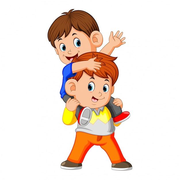 Счастливый мальчик с братом Premium векторы