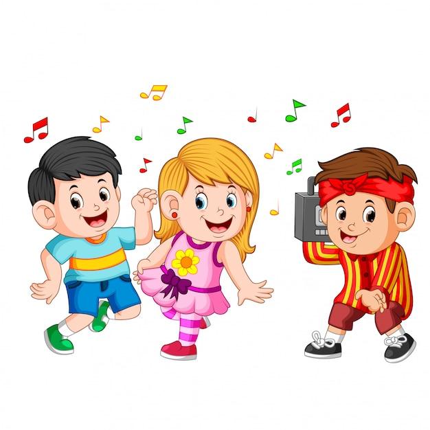 ヒップホップの子供たちが踊り、少年はヴィンテージテープレコーダーを持っています Premiumベクター