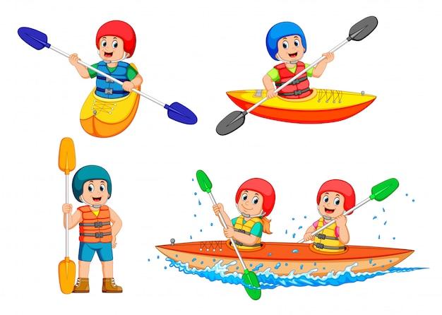 カヌーを漕ぐ若い男のコレクション Premiumベクター