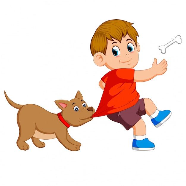 Милая собака бьет своего хозяина за кость Premium векторы