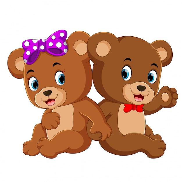 Два милых медведя Premium векторы