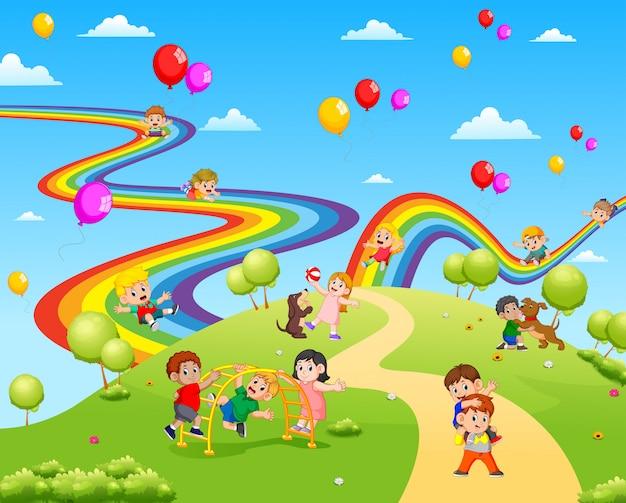 Прекрасный вид, полный детей, играющих вместе Premium векторы