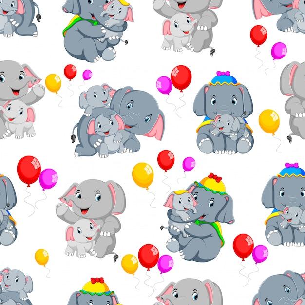 幸せな象とのシームレスなパターン Premiumベクター