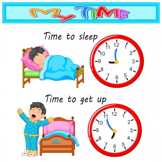 少年とベッドに寝る時間 Premiumベクター