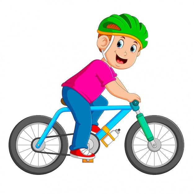 Профессиональный велосипедист едет на голубом велосипеде | Премиум ...