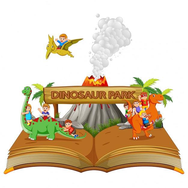 Сборник рассказов о парке динозавров с детьми и вулканом Premium векторы