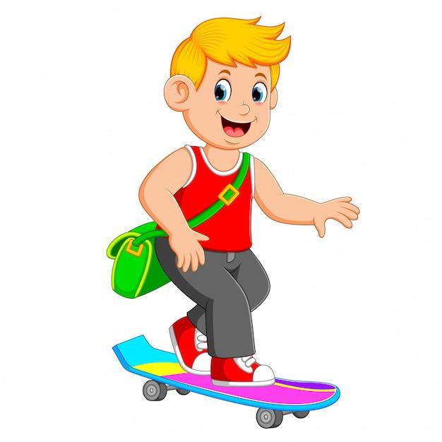 クールな少年は緑色の袋を使ってスケートボードを遊んでいる Premiumベクター