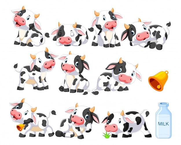Коллекция милой коровы с различными позами Premium векторы