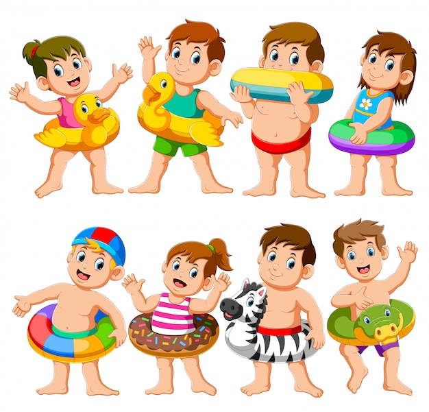 インフレータブルフロートを使用して幸せなリラックス休日子供プールパーティー Premiumベクター