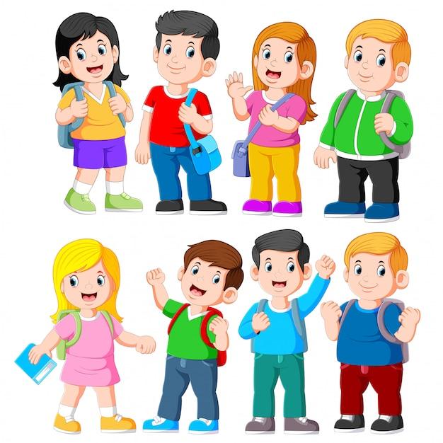 小学生のグループ Premiumベクター