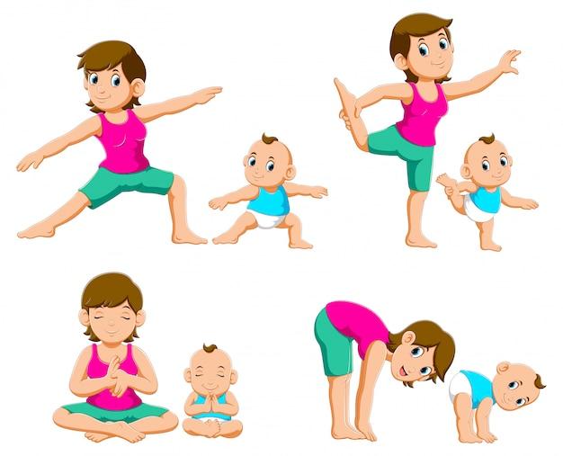 ヨガの練習をしている若い母親と赤ちゃんのコレクション Premiumベクター