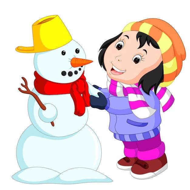 Дети со снеговиком картинка для детей