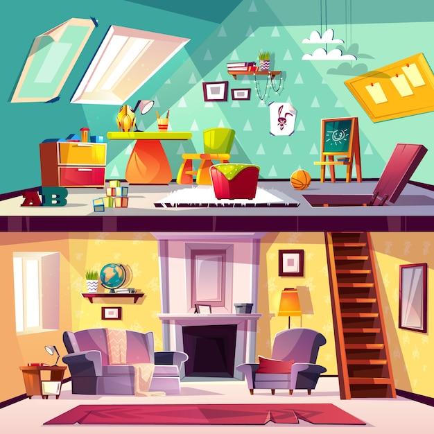 断面の背景、屋根裏部屋、リビングルームの子供用プレイルームの漫画インテリア 無料ベクター