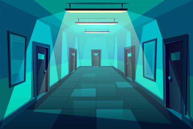 オフィス、ホテルまたはマンションの空の回廊または夜間のホールの漫画 無料ベクター
