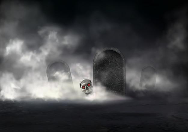 霧の夜に古い墓地の恐怖 無料ベクター