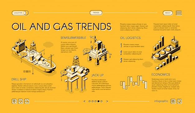 石油およびガス産業の動向等尺性ウェブバナー 無料ベクター