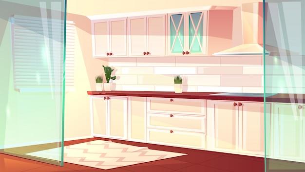白い色で空の明るいキッチンのベクトル漫画イラスト。呼気のある広々とした調理室 無料ベクター