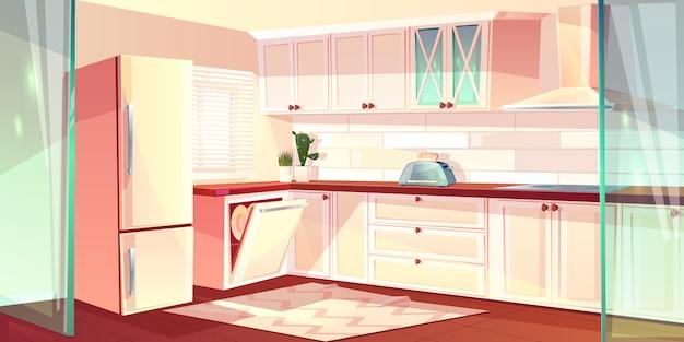 白の明るいキッチンのベクトル漫画イラスト。冷蔵庫のオーブン、換気扇 無料ベクター