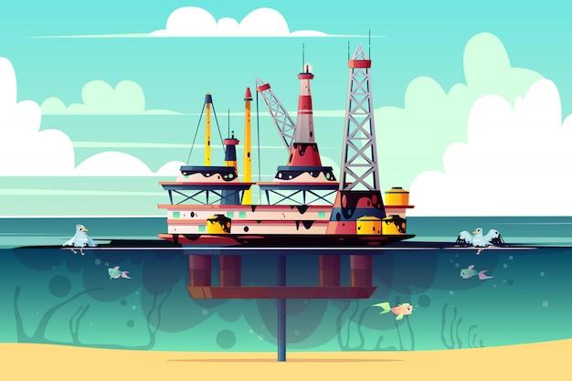 海で石油掘削装置の漫画イラスト 無料ベクター