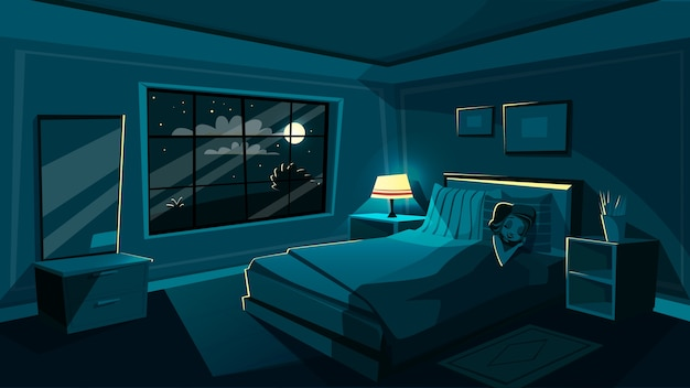 かわいい若い女性は、寝室で寝て、漫画のインテリア。 無料ベクター