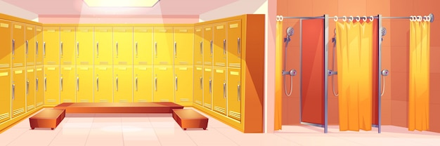 Современный спортзал или спортивный клуб, удобная раздевалка, интерьер мультяшный векторный фон Бесплатные векторы