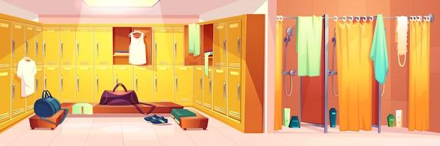 Вектор тренажерный зал интерьер - раздевалка со шкафчиками и душевые кабины с занавесками Бесплатные векторы