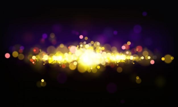 輝く要素、明るいライト、ピンぼけ効果と抽象的な背景をベクトルします。 無料ベクター