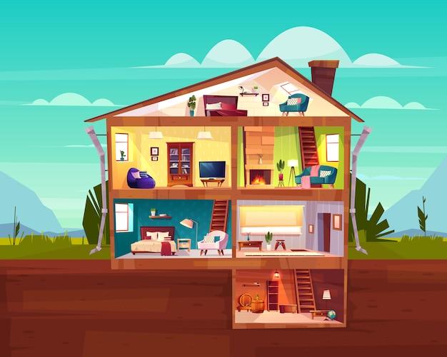 Двухэтажный коттеджный дом сечения интерьер мультяшный вектор с просторным залом Бесплатные векторы