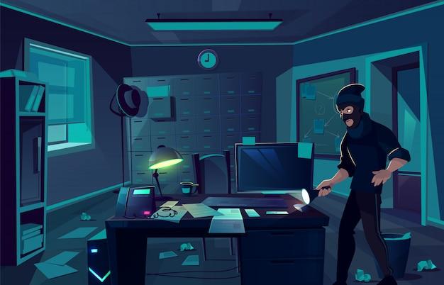 警察署や私立探偵のキャビネットでの強盗のベクトル漫画背景 無料ベクター