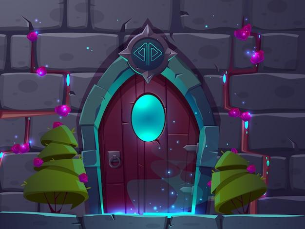 ウィンドウ付きの木製の魔法の扉を持つベクトル漫画の背景。イステリーポータル 無料ベクター