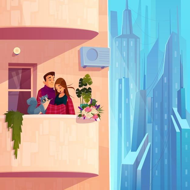 モダンな多階建ての家漫画のベクトルで快適な暮らし 無料ベクター