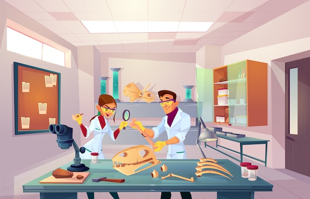 古生物学、遺伝学研究室、化石骨を調べる若い古生物学者の研究者チーム 無料ベクター