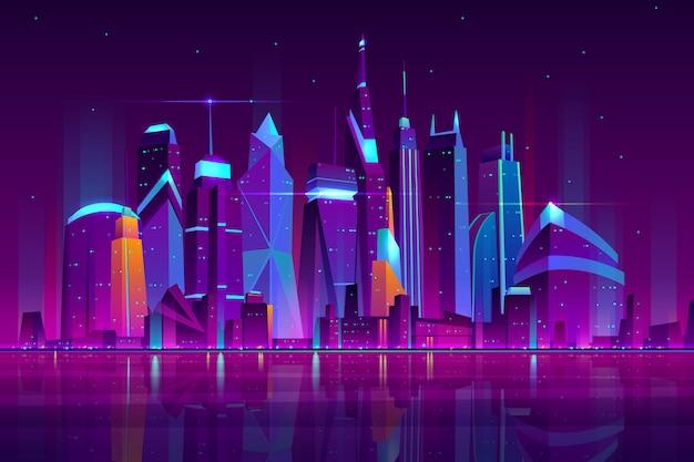 近代的な都市漫画ベクトル夜の風景。ネオンライトイラストに照らされた海岸の高層ビル建物と都市の街並みの背景。メトロポリス中央ビジネス地区 無料ベクター