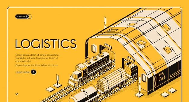 倉庫物流、鉄道木材の配達および輸送プロセス 無料ベクター