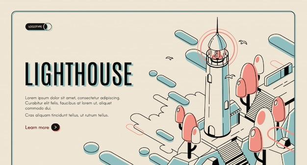 灯台の建物とレトロな色付きの背景上のカモメ。 無料ベクター