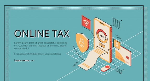 オンライン税スマートフォンの画面から出るお支払いの大きな請求書。 無料ベクター