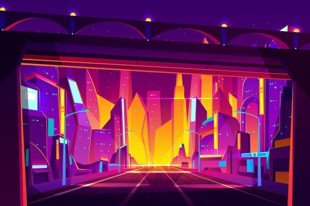 Современный мегаполис ночной уличный мультфильм. Бесплатные векторы