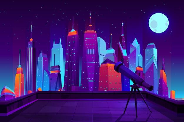 Астрономические наблюдения в современном мультфильме города в неоновых тонах. Бесплатные векторы