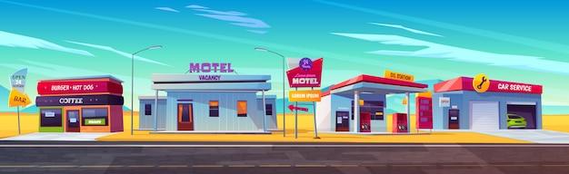 駐車場、石油ステーション、ハンバーガー、コーヒーバー、車のサービスがある道端のモーテル。 無料ベクター