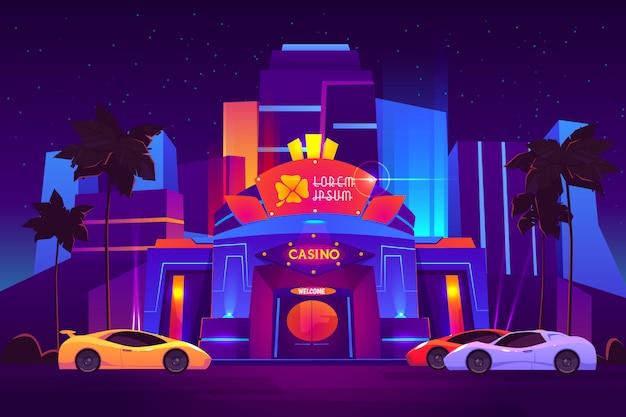 明るいネオン照明のモダンなリゾートメトロポリスの高級カジノ建物の外観 無料ベクター