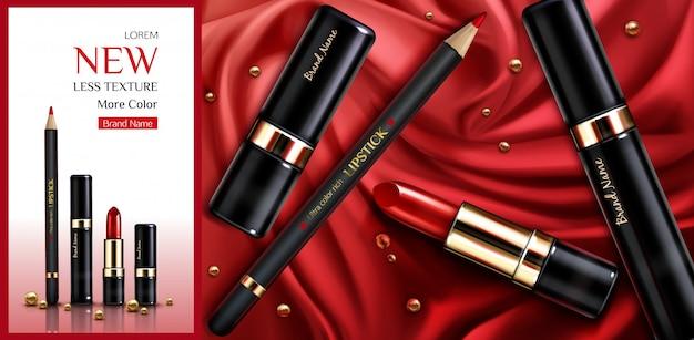 Помада косметика макияж красоты продукт рекламный баннер. Бесплатные векторы