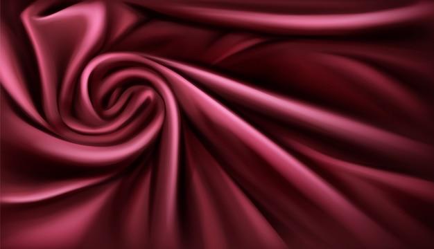 Вихревой тканевый шелковый фон, роскошный бордовый драпированный сложенный текстиль с мягкими спиральными вихревыми атласными волнами Бесплатные векторы
