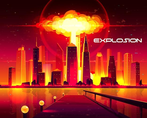 高層ビルの建物のイラストの下で上げる原爆爆発の燃えるようなきのこ雲。 無料ベクター