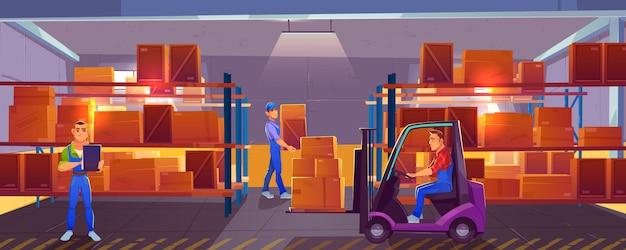 Логистика, интерьер склада с рабочим, управляющим грузоподъемником, погрузчик и инспектор, проверяющий список доставленного груза Бесплатные векторы