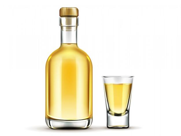 白で隔離コルク栓とメキシコのアルコール飲料フラスコ 無料ベクター