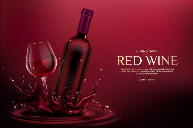 Закрытая пустая колба и рюмка с алкогольным винным напитком на бордовых жидких брызгах и капельках Бесплатные векторы