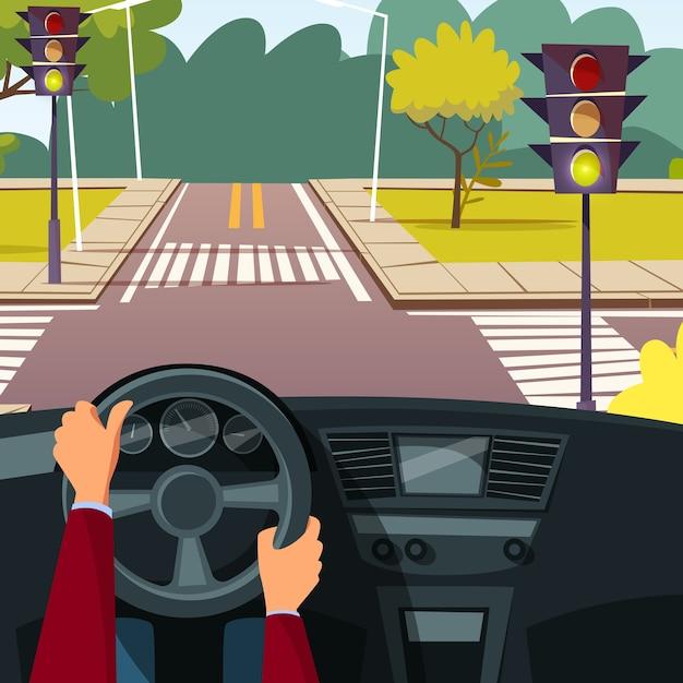 Мультфильм человек руки на автомобиль колеса вождения автомобиля на фоне перекрестка улицы. Бесплатные векторы