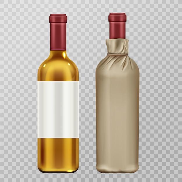 Винные бутылки в наборе крафт-бумаги, изолированные на прозрачной Бесплатные векторы
